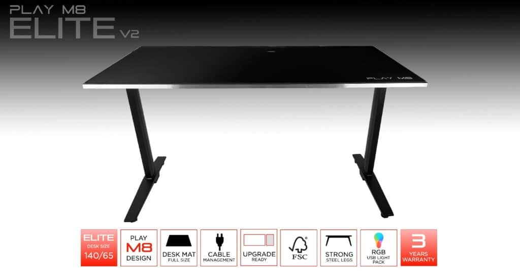 Computer Gaming Desk - Play M8 - 160 cm - 5XL Mouse Pad