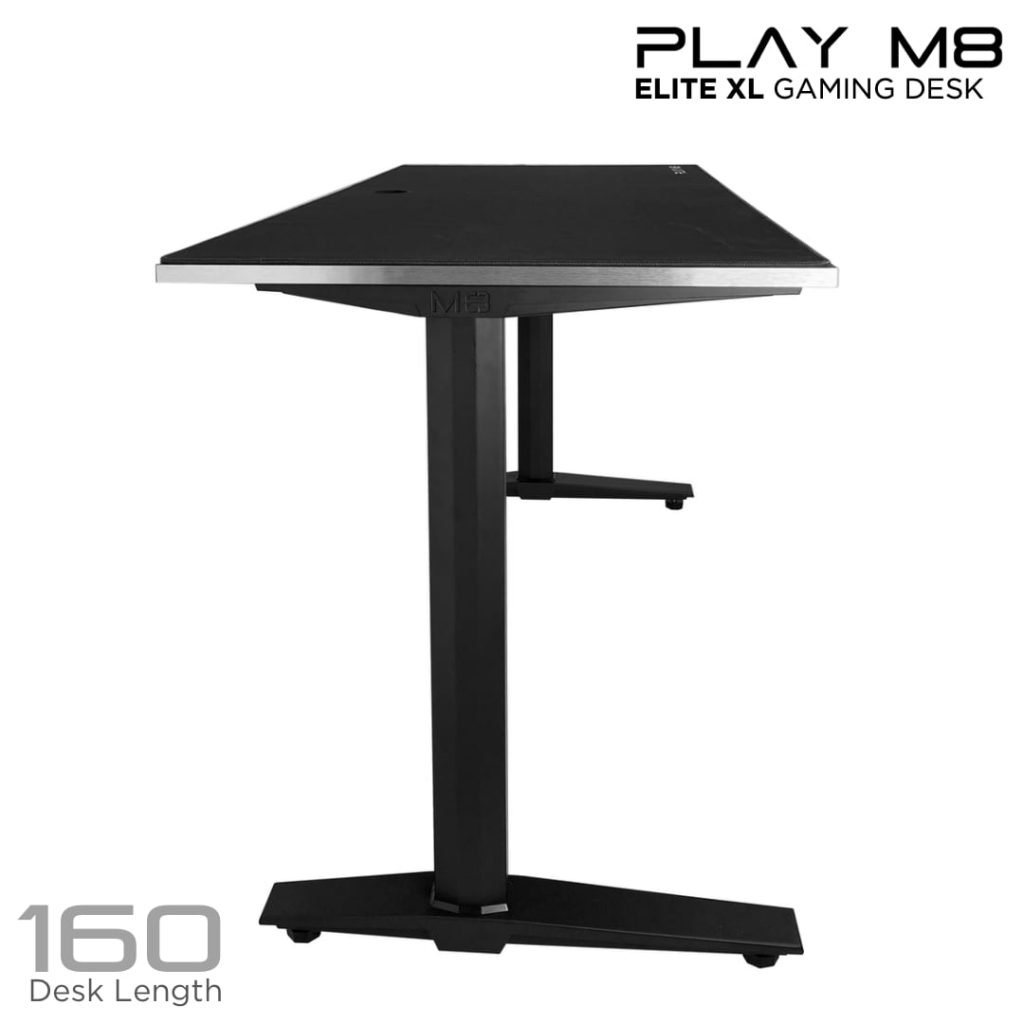 Gaming Desk. Black. 160 cm. Aluminium- Play M8 - 160 CM - Alu - XXL Mouse Pad
